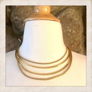💫HP💫 Vintage Monet Four Strand Gold Necklace